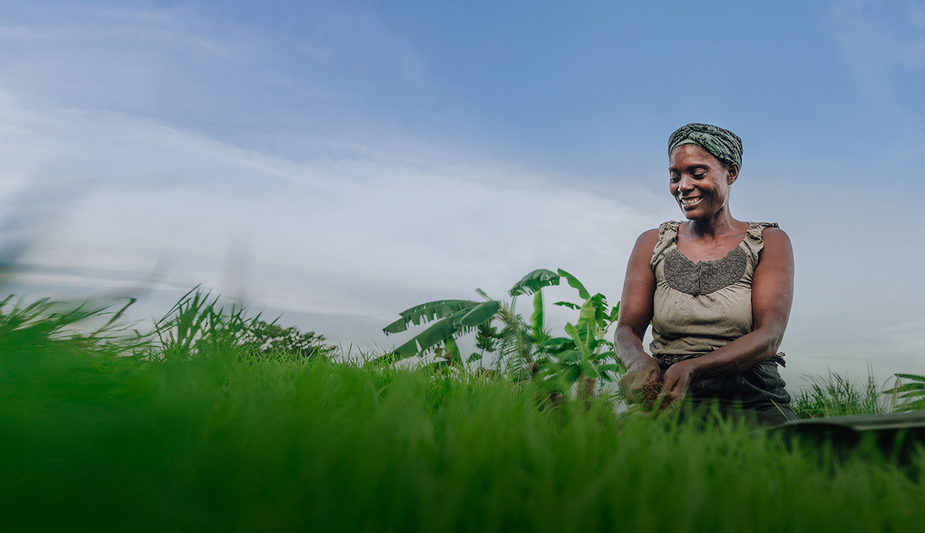 Female African farmer tending to crops in the field under bright blue sky