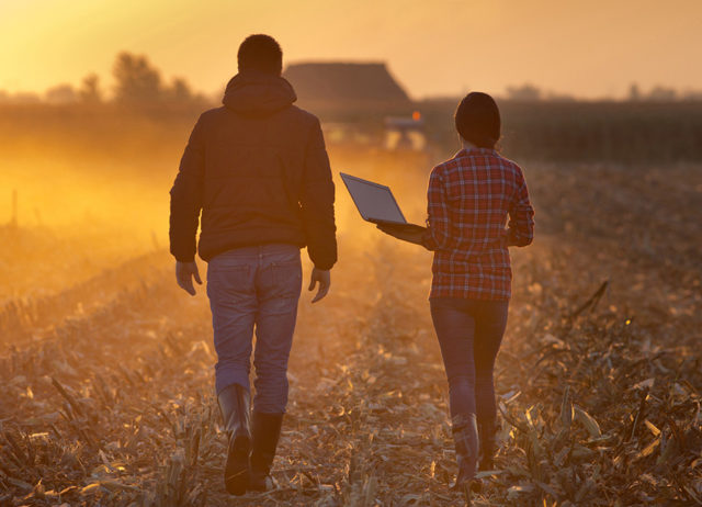 Two scientists walking in a field at sunset holding a laptop