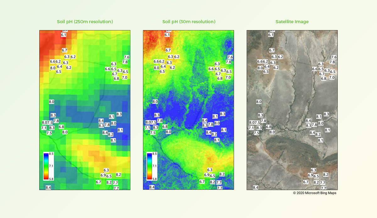 Comparison of soil pH predictions at 250m and 30m spatial resolutions